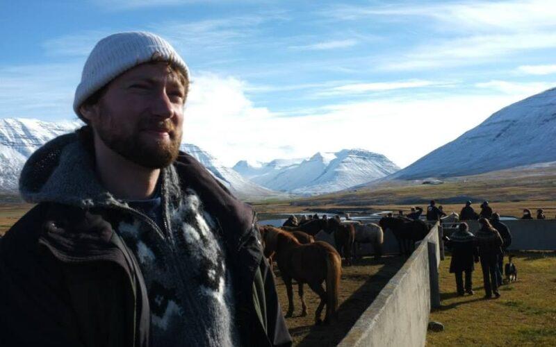 Ryan Dennis at a horse rettir in northern Iceland