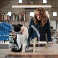 Andrea Spencer studio with cat